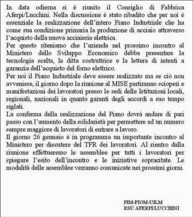Comunicato sindacale e Rsu Aferpi/Lucchini del 18.01.2016
